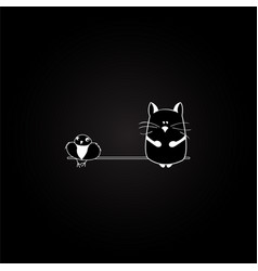 cat and bird on the black background vector image