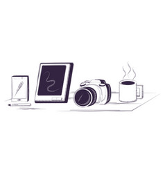 desk and office supplies design vector image