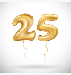 golden number 25 twenty five metallic balloon vector image vector image