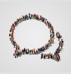 large group of people in the chat bubbles shape vector image vector image