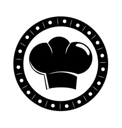 monochrome circular border with silhouette chefs vector image