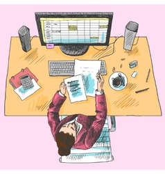 Accountant work place colored vector image vector image