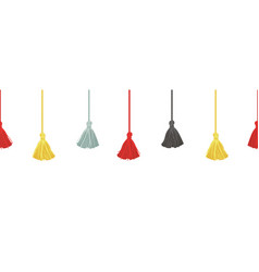 Colorful decorative tassels with ropes vector
