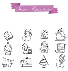 Hand draw of icon holiday christmas vector