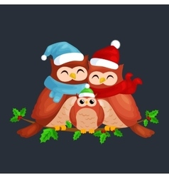 happy family of owls mom dad and baby in a warm vector image