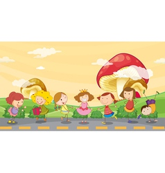 Kids playing at the roadside vector image vector image