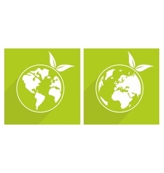 Planet Earth green sign vector image