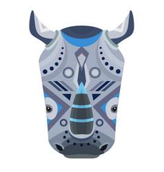 rhino head logo decorative emblem vector image