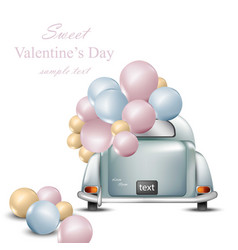 vintage retro car with balloons valentines day vector image vector image