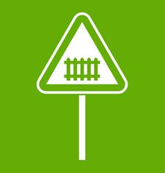 warning road sign icon green vector image vector image