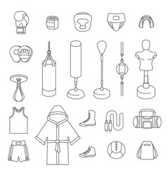 boxing icons flat thin line icons vector image vector image