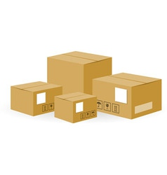 Brown shipping boxes vector