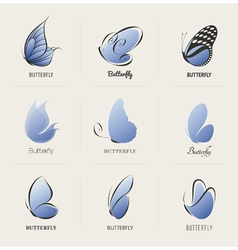 Butterfly - collection of design elements vector image