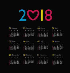 calendar 2018 year week starts from sunday vector image vector image