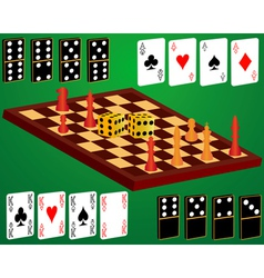 domino cards dice chess vector image vector image