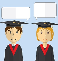 Flat design modern of students in graduation gowns vector image vector image