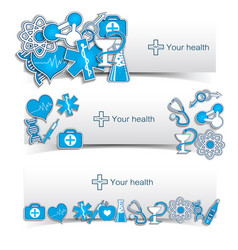 medical banners set with icons vector image