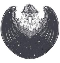 sea eagle head with pagan runic symbols vector image