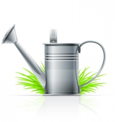 watering can and grass vector image