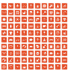 100 nursery icons set grunge orange vector image