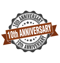 10th anniversary stamp sign seal vector