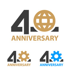 40 years anniversary industry gear globe number vector image