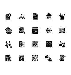 A pack of data management glyph icons vector