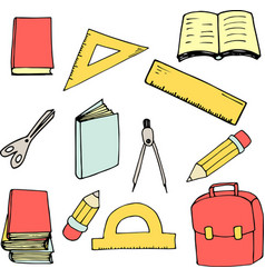 back to school elements in cartoon style vector image