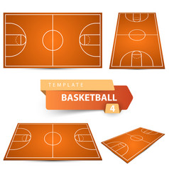 Basketball court four items sport template vector