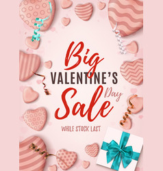 big valentines day sale vertical poster pink vector image