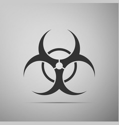 Biohazard symbol flat icon on grey background vector