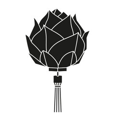 Black and white chinese lotus lantern silhouette vector