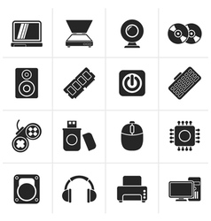 Black Computer Parts and Devices icons vector