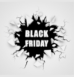 black friday sale banner cracked hole with space vector image