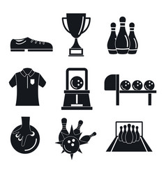 Bowling kegling game icons set simple style vector