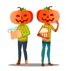 boy girl with a pumpkin instead of head and a vector image