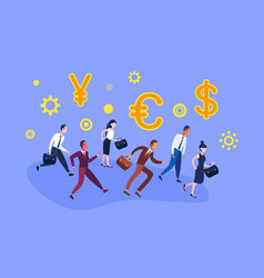 business people group running financial team vector image