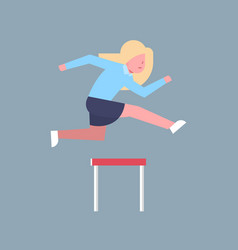 business woman jumping over obstacle successful vector image