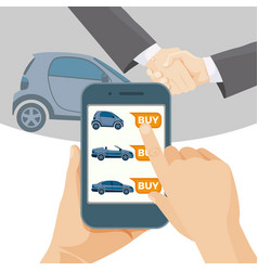 Buy car online by means of modern smartphone vector