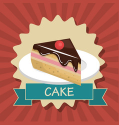 Cake slice dessert isolated vector