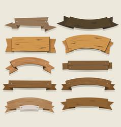 cartoon wood banners and ribbons vector image