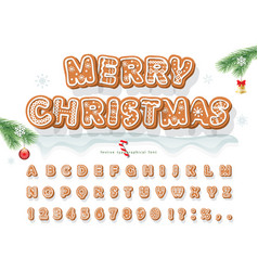 christmas gingerbread cookie font bisquit vector image