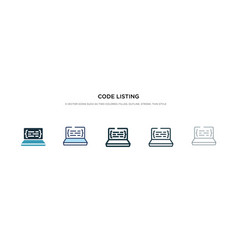 Code listing icon in different style two colored vector