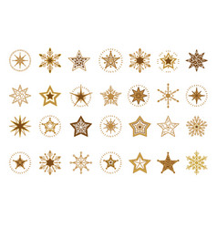 collection of flat snowflakes a stars christmas vector image
