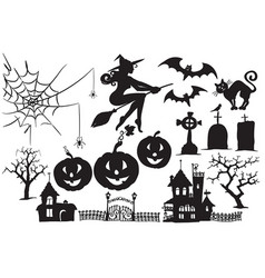 collection of halloween symbols and characters vector image