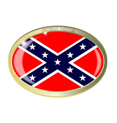 Confederate states flag oval button vector