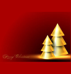 conical abstract gold christmas trees banner vector image