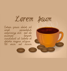 cup of coffee and coffee beans on a beige vector image