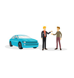 customer are agree to salesman to buy car are he vector image