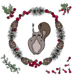 Cute cartoon squirrel in floral wreath with vector